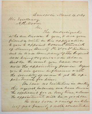 "MANUSCRIPT PETITION TO GOVERNOR A. B. MOORE, URGING HIM ""TO APPOINT OSMOND L. STRUDWICK OF..."