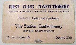 "FIRST CLASS CONFECTIONARY. ""WHERE COLORED PEOPLE ARE WELCOME."" Ohio Trade Card"