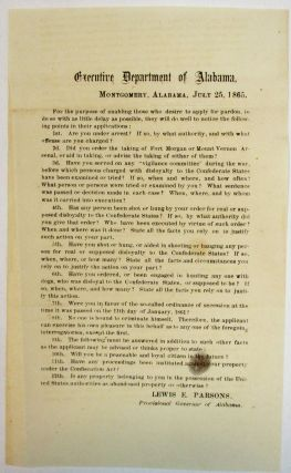 EXECUTIVE DEPARTMENT OF ALABAMA, MONTGOMERY, ALABAMA, JULY 25, 1865. FOR THE PURPOSE OF ENABLING...