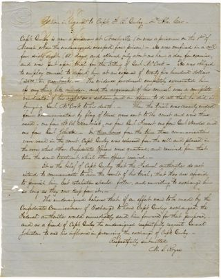 MANUSCRIPT PETITION IN REGARD TO CAPT. F.B. GURLEY - 4TH ALA. CAV. General McCook Murder Trial,...
