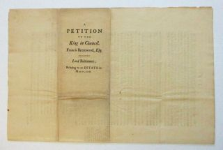 A PETITION TO THE KING IN COUNCIL. FRANCIS BREREWOOD, ESQ; AGAINST LORD BALTIMORE; RELATING TO AN ESTATE IN MARYLAND.