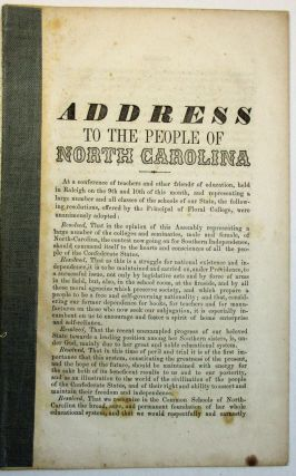 ADDRESS TO THE PEOPLE OF NORTH CAROLINA. C. H. Wiley