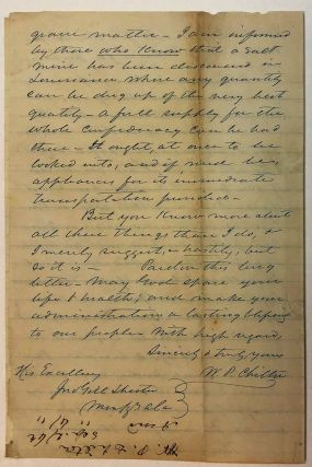 AUTOGRAPH LETTER SIGNED, FROM CONFEDERATE CONGRESSMAN CHILTON AT RICHMOND, TO ALABAMA GOVERNOR JOHN GILL SHORTER, 20 SEPTEMBER 1862, ON PROGRESS AND TACTICS OF THE WAR, ABRAHAM LINCOLN, AND POLITICAL MATTERS.