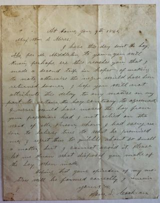 AUTOGRAPH LETTER, 9 JANUARY 1861, FROM BY SAM. L. COCHRAN, TO MAJOR WILLIAM S. MIREE, EXPLAINING...