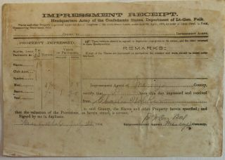 IMPRESSMENT RECEIPT. HEADQUARTERS ARMY OF THE CONFEDERATE STATES, DEPARTMENT OF LT.-GEN. POLK....