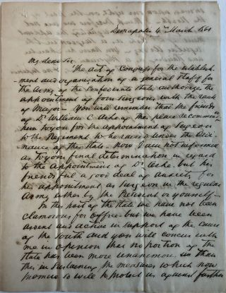 AUTOGRAPH LETTER SIGNED, FROM F.S. LYON OF DEMOPOLIS, TO GOVERNOR A.B. MOORE, 4 MARCH 1861,...