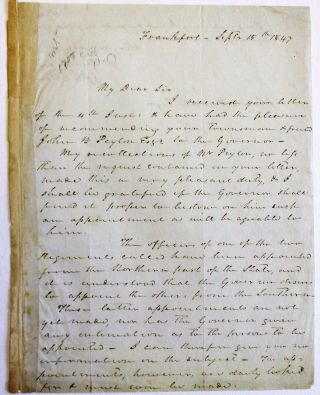 AUTOGRAPH LETTER SIGNED TO JOHN B. TEMPLE, 15 SEPTEMBER 1847, CONCERNING CRITTENDEN'S...