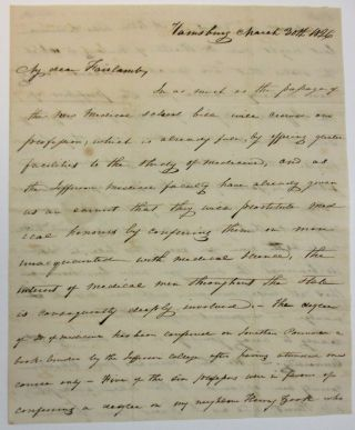 AUTOGRAPH LETTER SIGNED TO DR. FAIRLAMB, FROM WILLIAM HARRIS, A HARRISBURG PHYSICIAN, OPPOSING A...