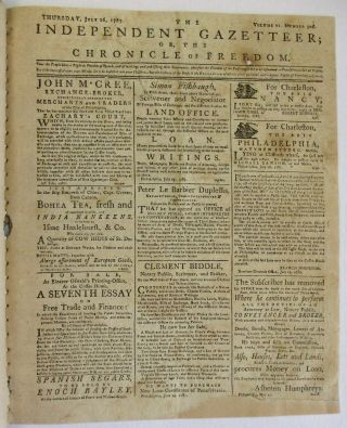 EIGHT 1787 ISSUES OF THE INDEPENDENT GAZETTEER; OR, THE CHRONICLE OF FREEDOM.