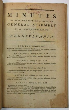MINUTES OF THE FOURTH SITTING OF THE FOURTH GENERAL ASSEMBLY OF THE COMMONWEALTH OF PENNSYLVANIA....