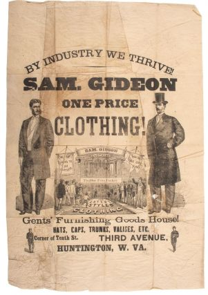 BY INDUSTRY WE THRIVE. SAM. GIDEON ONE PRICE CLOTHING. GENTS' FURNISHING GOODS HOUSE. Samuel Gideon
