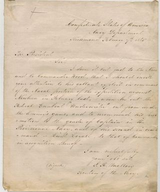 AUTOGRAPH LETTER SIGNED AS SECRETARY OF THE NAVY TO CONFEDERATE PRESIDENT JEFFERSON DAVIS, 7...
