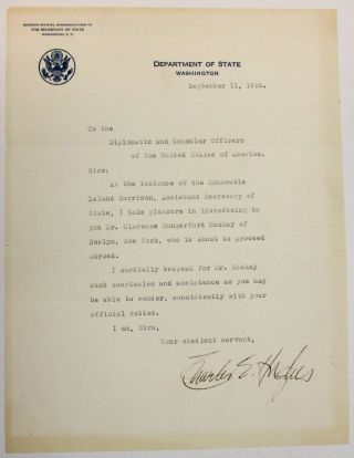"TYPED LETTER SIGNED AS SECRETARY OF STATE, 11 SEPTEMBER 1924, ""TO THE DIPLOMATIC AND CONSULAR..."