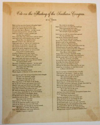 ODE ON THE MEETING OF THE SOUTHERN CONGRESS. Timrod, enry