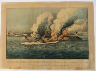 "TERRIFIC COMBAT BETWEEN THE ""MONITOR"" 2 GUNS & ""MERRIMAC"" 11 GUNS, IN HAMPTON ROADS MARCH 9TH..."