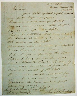 "AUTOGRAPH LETTER SIGNED FROM ""HD. QTRS FORCES MIDDLE TENN. NOV. 23RD"" [1862]. LT. COL. BUCKNER,..."