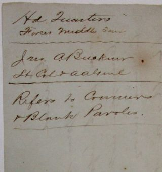"""AUTOGRAPH LETTER SIGNED FROM """"HD. QTRS FORCES MIDDLE TENN. NOV. 23RD"""" [1862]. LT. COL. BUCKNER, GENERAL JOHN BRECKINRIDGE'S AAG, URGES BRIGADIER GENERAL AND CHIEF OF CAVALRY JOSEPH WHEELER TO """"SO ARRANGE IT THAT COURIERS MAY ARRIVE EITHER BEFORE 12 M. OR AFTER DAY LIGHT. WE ARE SO SITUATED THAT EVERY ONE IN THE HOUSE IS AROUSED BY ANY COURIER THAT ARRIVES IN THE NIGHT. OF COURSE WHEN PARTICULARLY IMPORTANT SEND THEM AT ANY HOUR."""""""