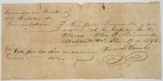 TWO AUTOGRAPH DOCUMENTS SIGNED CONCERNING A FORMER CONFEDERATE ARTILLERY MAN WHO EXILED HIMSELF...