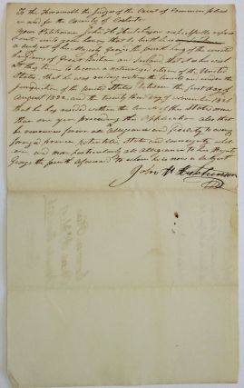 """TO THE HONOURABLE THE JUDGES OF THE COURT OF COMMON PLEAS IN AND FOR THE COUNTY OF COSHOCTON...."
