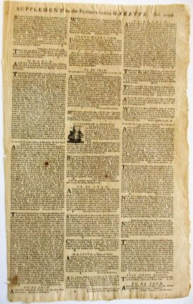 THE PENNSYLVANIA GAZETTE. CONTAINING THE FRESHEST ADVICES, FOREIGN AND DOMESTIC. MARCH 16, 1769. NUMB. 2099.