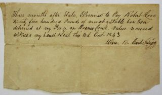 PROMISSORY NOTE EXECUTED AND SIGNED BY CARTER [1792-1848], TENNESSEE PLANTER, PRESIDENT OF...