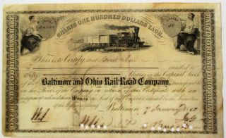 ENGRAVED BALTIMORE & OHIO RR STOCK CERTIFICATE CERTIFYING ISRAEL COHEN'S OWNERSHIP OF FIFTY...